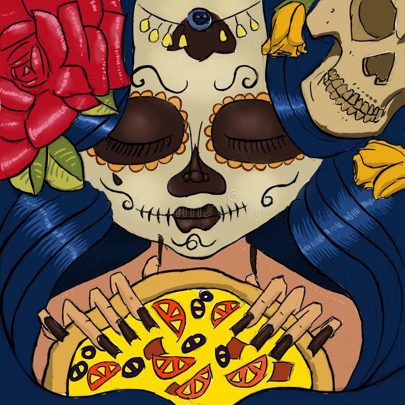 Dag av den döda flickan med pizza arkivbilder