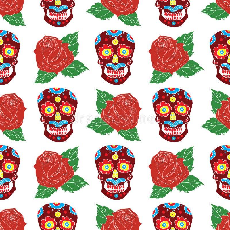 Dag av den döda sömlösa modellen, de handdrawn sockerskallarna och rosorna bakgrund, vektorillustration stock illustrationer