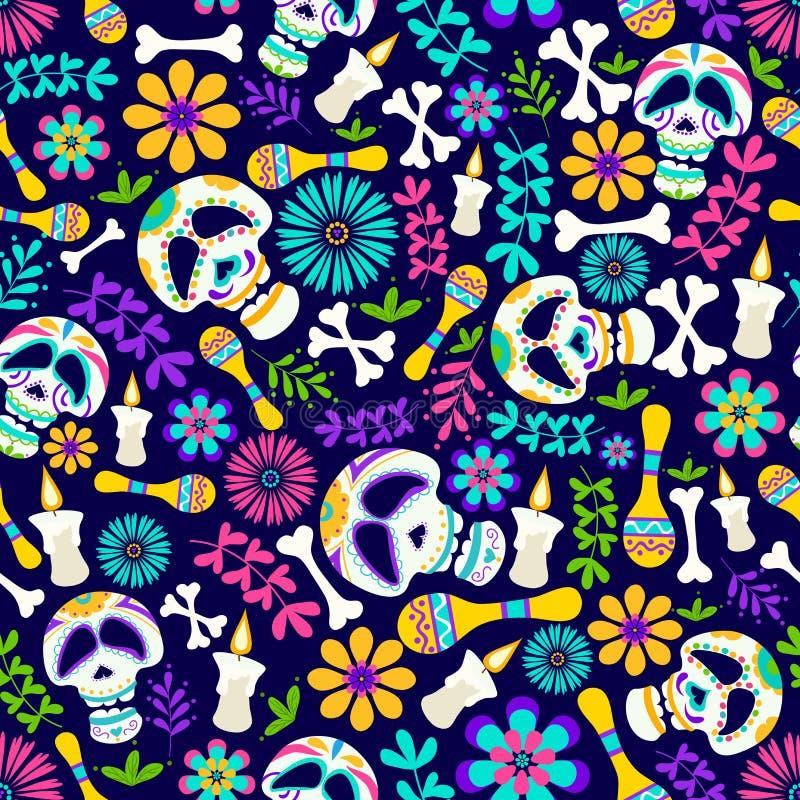 Dag av den döda sömlösa modellen med stearinljus, blommor, skelett- etc. Gladlynt diameter de los muertos kort i tecknad filmstil vektor illustrationer