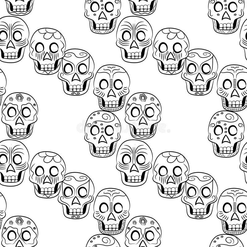 Dag av den döda Sugar Skull Seamless modellen vektor illustrationer
