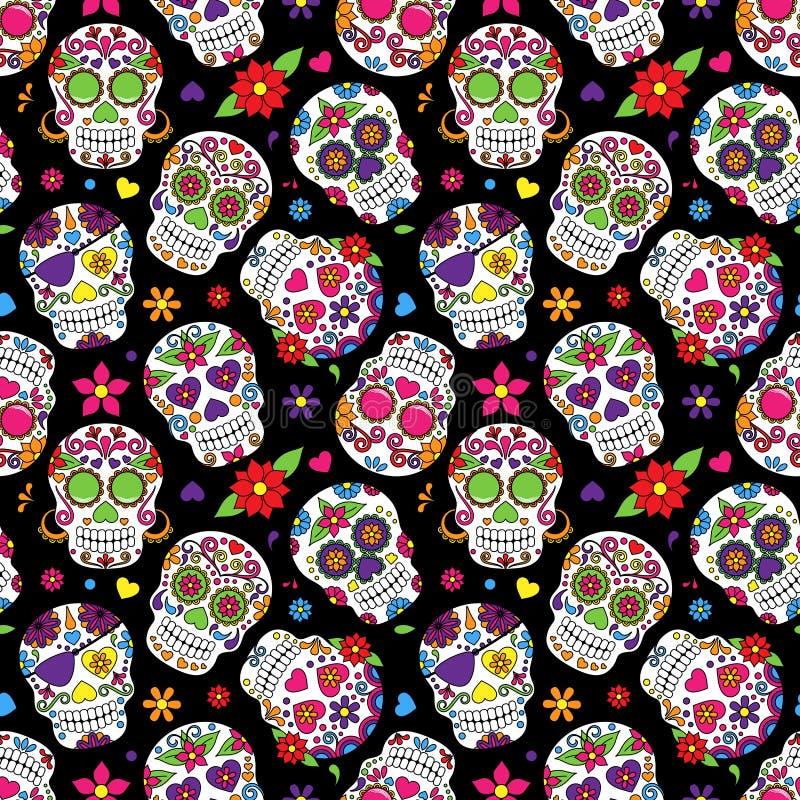 Dag av den döda Sugar Skull Seamless Vector Background vektor illustrationer