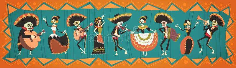 Dag av den döda traditionella mexicanska allhelgonaaftonen Dia De Los Muertos Holiday royaltyfri illustrationer
