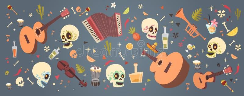 Dag av den döda traditionella mexicanska allhelgonaaftonen Dia De Los Muertos Holiday Party vektor illustrationer