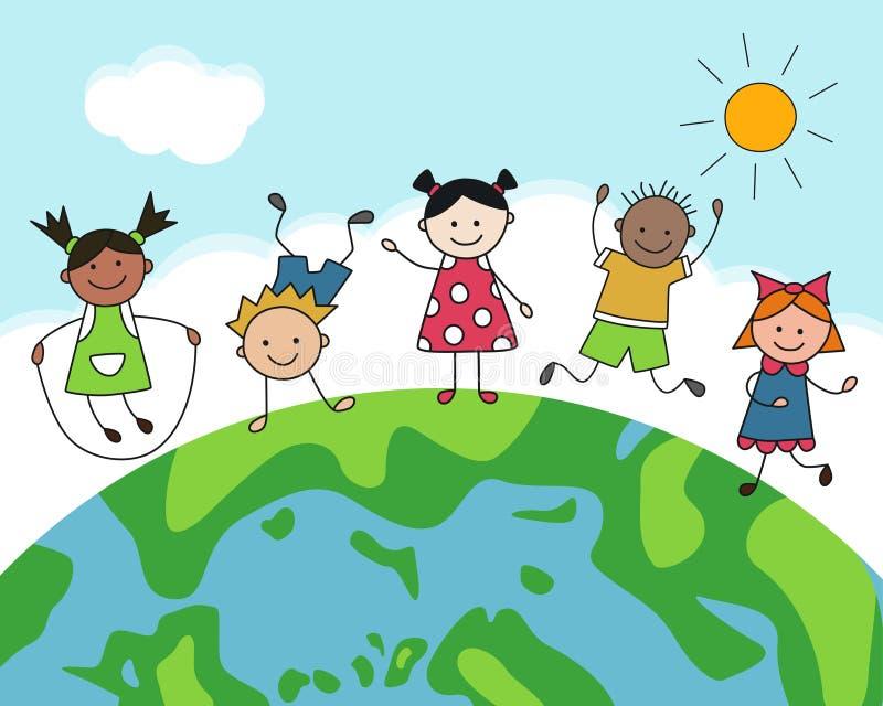 Dag av fred Mångkulturella lyckliga barn på jordklotet Färgkort i tecknad filmstil vektor illustrationer