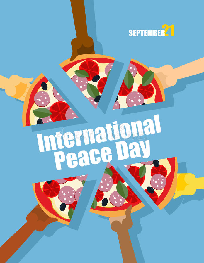 Dag av fred 21 September internationell ferie Folket äter piz stock illustrationer