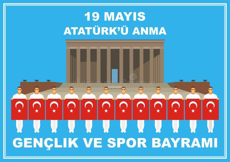 Dag av minnet av Ataturk vektor illustrationer