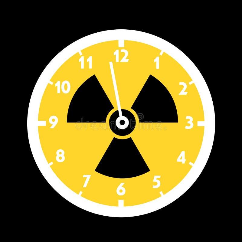Dag des oordeelsklok met symbool van kern en atoomradiactivity royalty-vrije illustratie