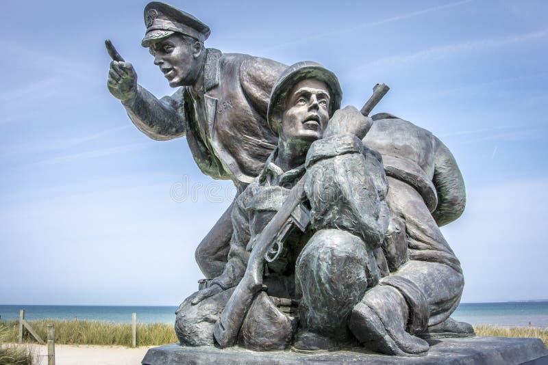Dag Dminnesmärke, Utah strand, Normandie, Frankrike arkivfoto