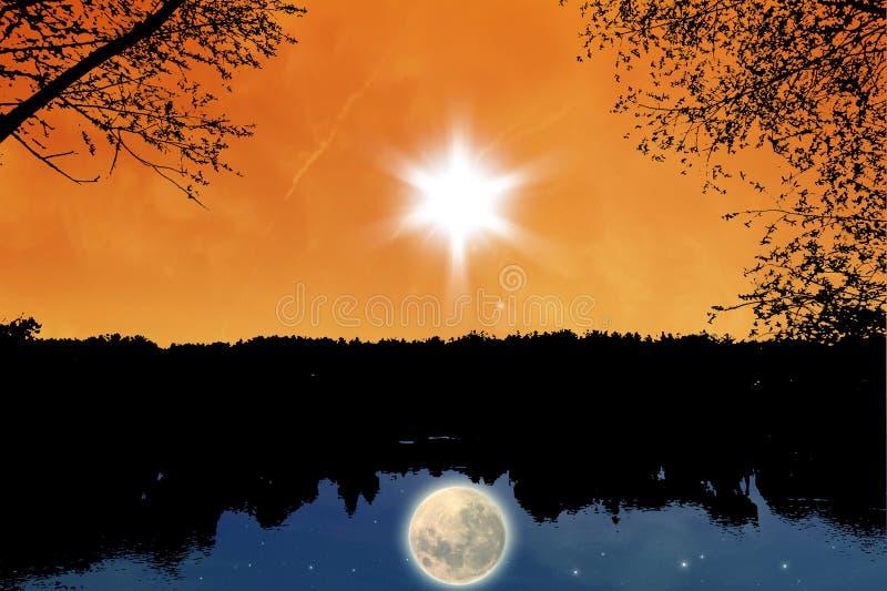 Dag en nacht stock illustratie