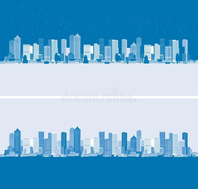 Dag en nacht. Cityscape achtergrond, stedelijk art. stock illustratie