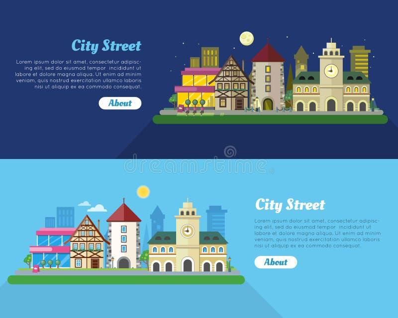 Dag en nacht de Vlakke Vectorbanner van de Stadsstraat stock illustratie