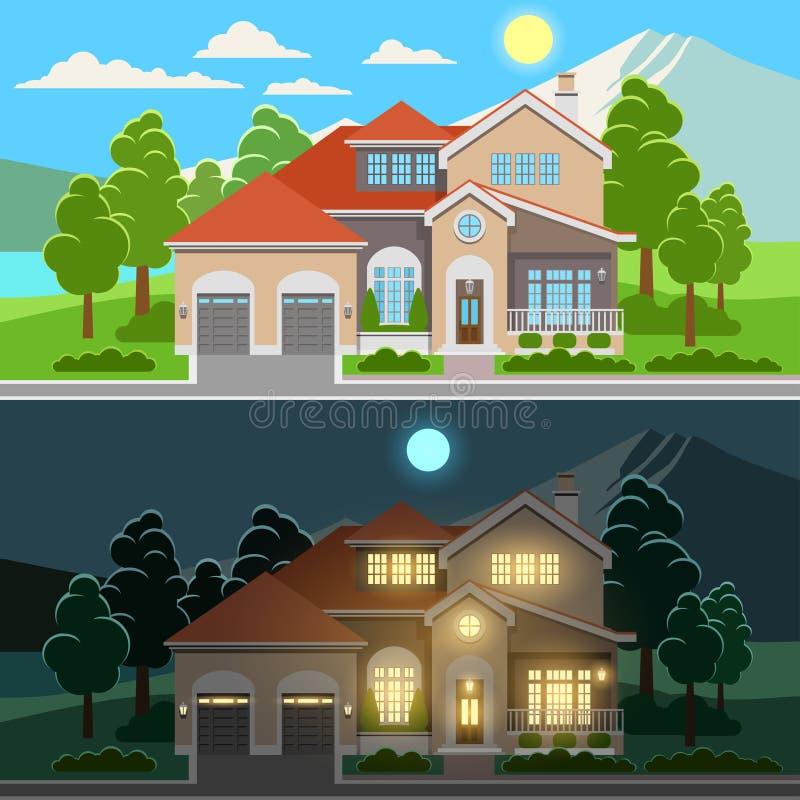 Dag en nacht huisillustratie stock illustratie