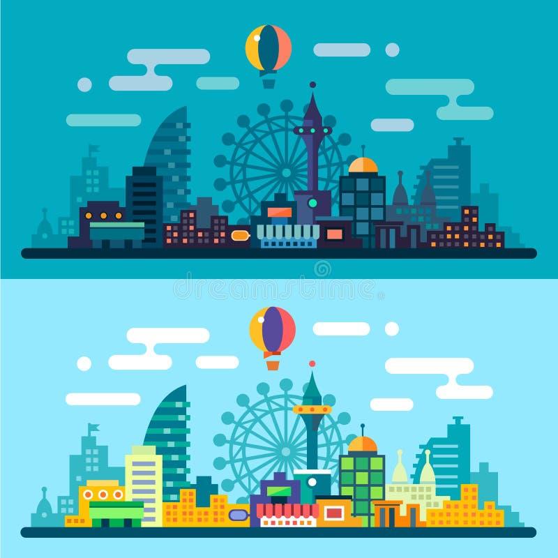 Dag en nacht stadslandschap vector illustratie