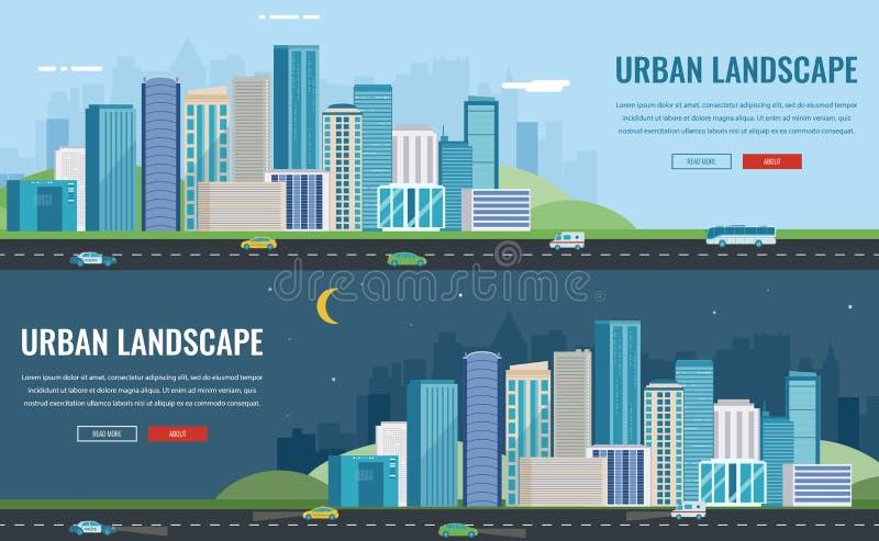 Dag en nacht stedelijk landschap Moderne stad De bouwarchitectuur, cityscape stad Het malplaatje van de conceptenwebsite Vector royalty-vrije illustratie