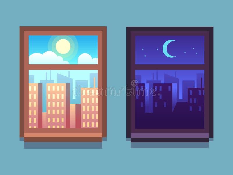 Dag en nacht venster Beeldverhaalwolkenkrabbers bij nacht met maan en sterren, bij dag met zon binnen huisvensters vector illustratie
