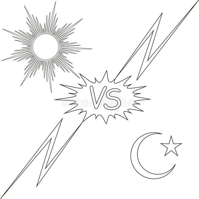 Dag en nacht versus de zon en de maanster stock illustratie