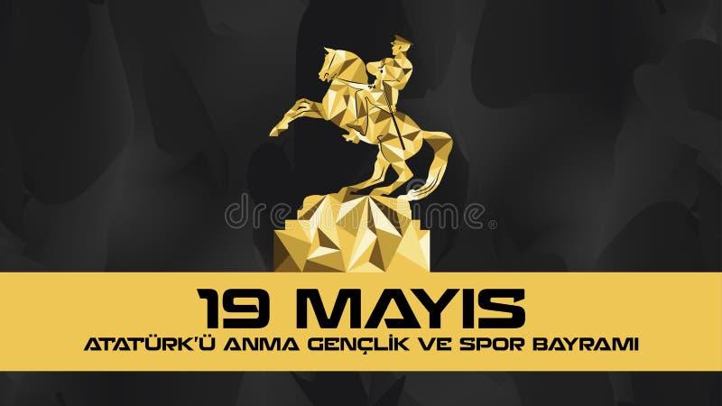 Dag för åminnelse och för ungdom och för sportar för Maj 19 Atatà ¼rk vektor illustrationer