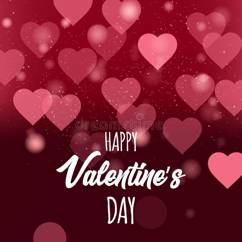 Dag för Appy valentin` s Bokeh bakgrund med hjärta och bubblan också vektor för coreldrawillustration 10 eps vektor illustrationer