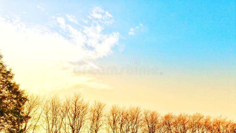 Dag för blå himmel i morgonen arkivbild