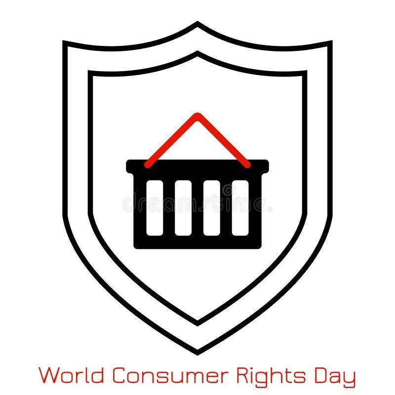 Dag för ConsumerRightsWorld konsumenträtter Begrepp av händelsen Enkel logo, symbol Shoppingvagn och sköld royaltyfri illustrationer