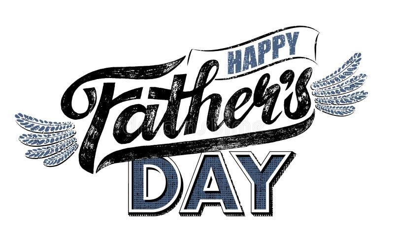 Dag för fäder för vektortext lycklig med vingar Handskrivet märka Calligraphic kort Grunge retro stil för tappning isolerat stock illustrationer
