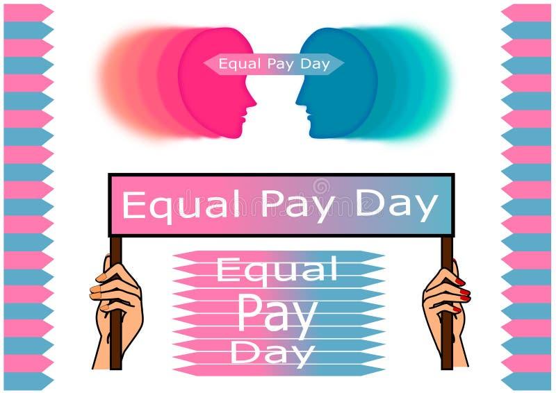 Dag för jämbördig lön stock illustrationer
