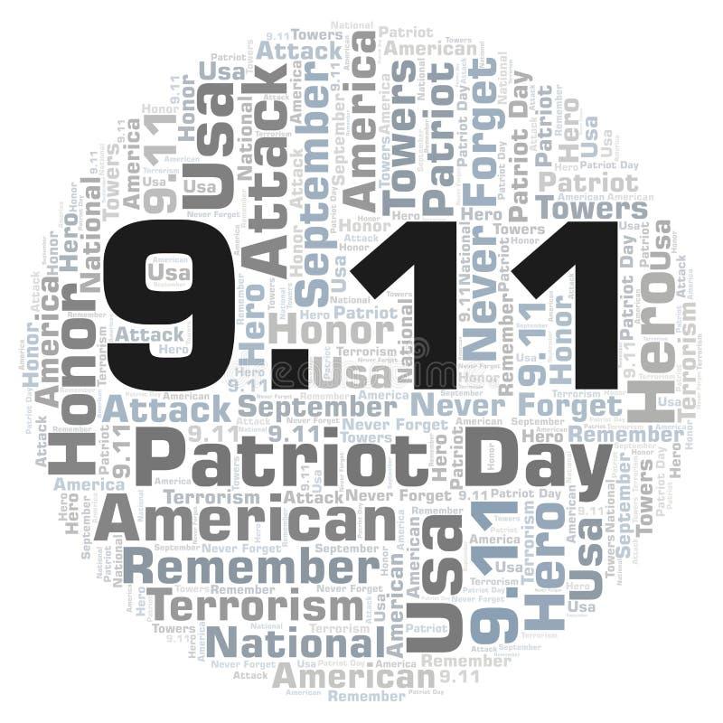 9 Dag för 11 patriot i ett moln för cirkelformord vektor illustrationer
