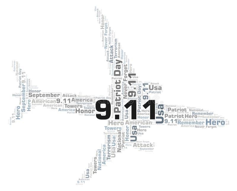 9 Dag för 11 patriot i ett moln för flygplanformord stock illustrationer