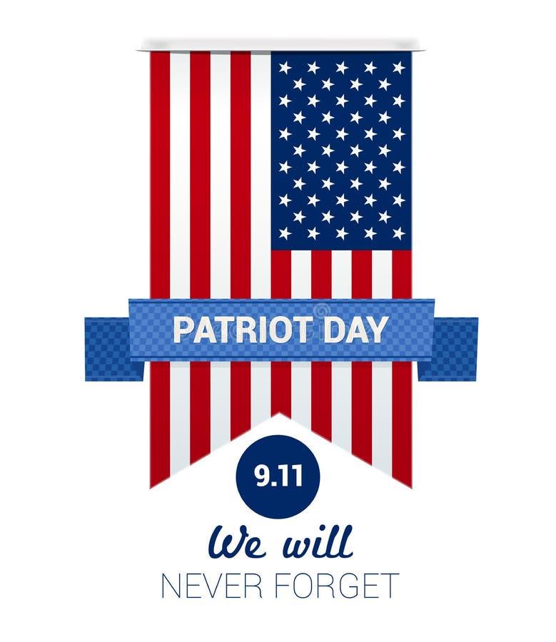 9 Dag för 11 patriot med USA flaggan stock illustrationer