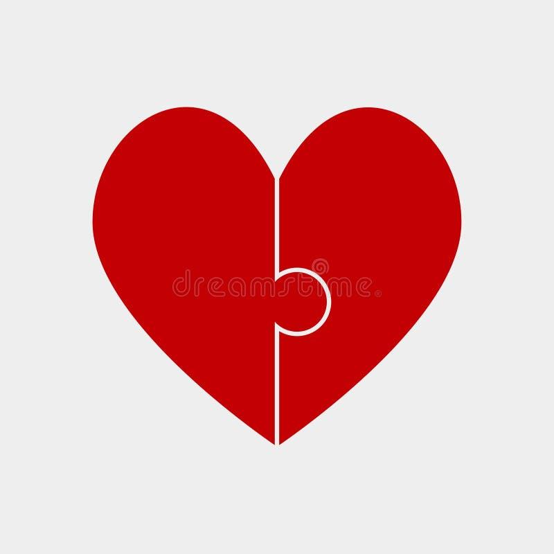 Dag för 2 röd valentin för styckpusselhjärta, förälskelse royaltyfri illustrationer