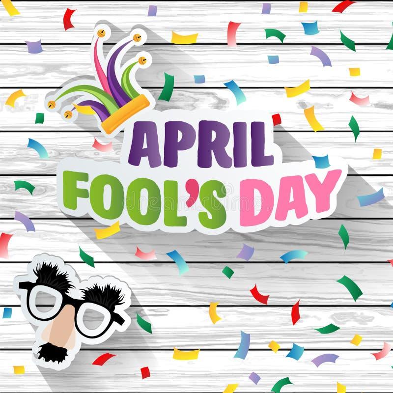 Dag för ` s för April dumbom, typografi, färgrik wood designmall, illustration royaltyfri illustrationer