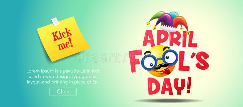 Dag för ` s för April dumbom, typografi som är färgrik stock illustrationer
