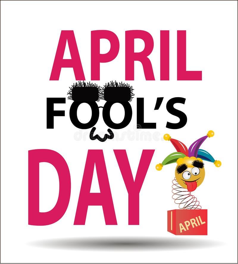 Dag för ` s för April dumbom, typografi som är färgrik royaltyfri illustrationer
