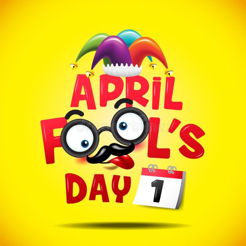 Dag för ` s för April dumbom, typografi som är färgrik, vektorillustration vektor illustrationer