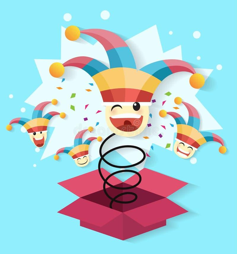 Dag för ` s för April dumbom, Jack In The Box leksak som fjädrar ut ur en ask royaltyfri illustrationer