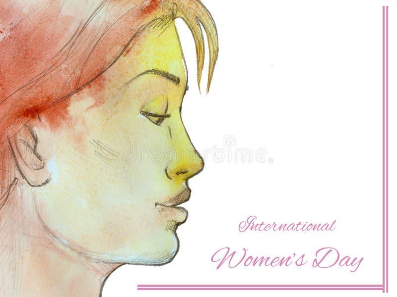 Dag för ` s för kvinnor för flickahälsningkort internationell stock illustrationer