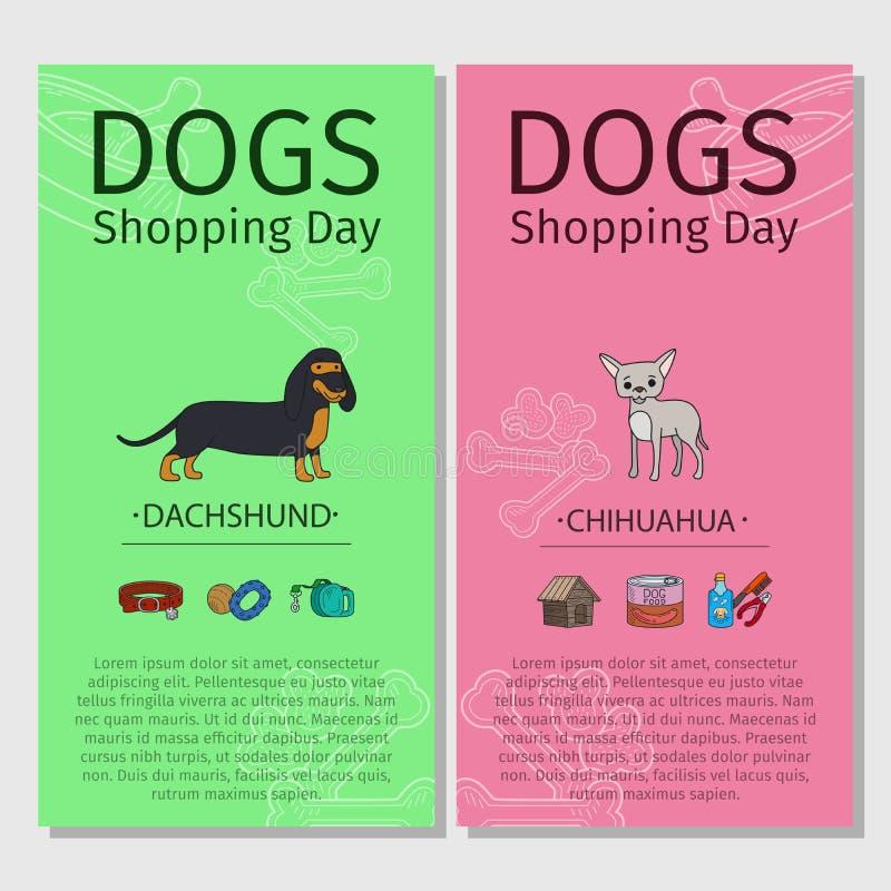 Dag för shopping för taxChihuahuahund royaltyfri illustrationer