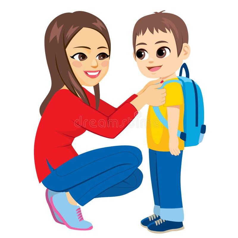 Dag för skola för mammaunge första stock illustrationer
