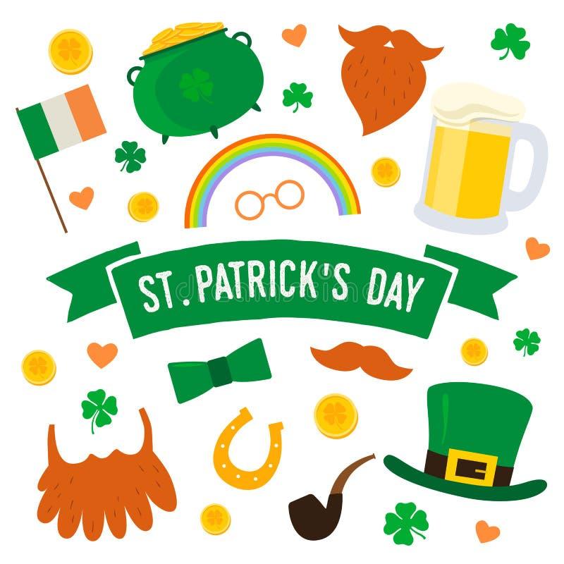 Dag för St Patrick ` s Fastställda traditionella beståndsdelar: hatt kruka av guld, rökrör, flagga av Irland, hästsko, växt av sl vektor illustrationer