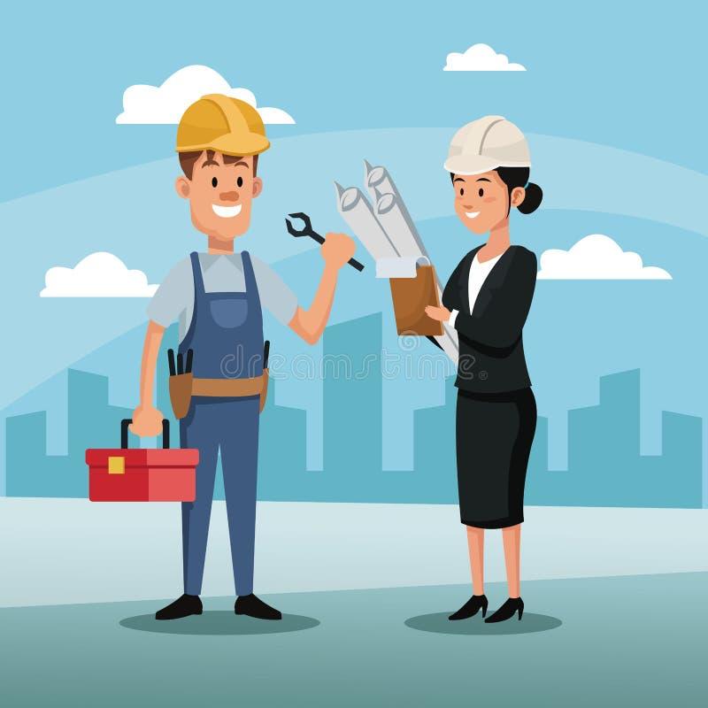 Dag för stad för arkitektur för konstruktion för anställd för teckenkvinnachef arbets- vektor illustrationer