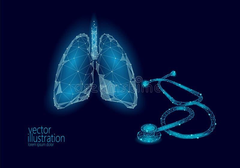 Dag för tuberkulos för värld för hälsovård för lungor för medicinstetoskop låg poly Medicinsk astmavetenskap för Polygonal modell vektor illustrationer