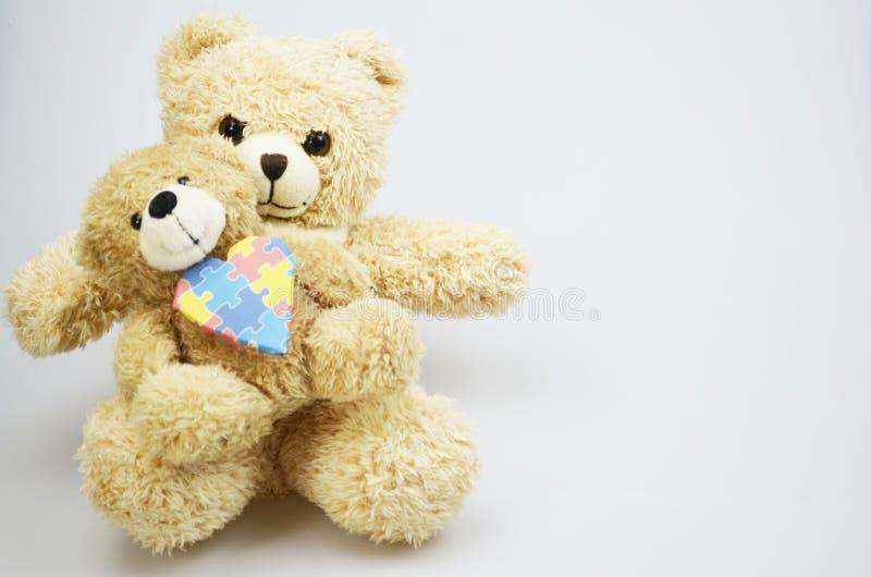 Dag för världsautismmedvetenhet med nallebjörnar royaltyfria foton