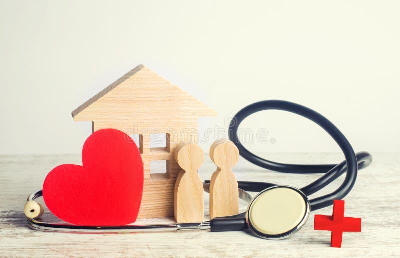 Dag för världshälsa, begreppet av familjmedicin och försäkring stetoskop och folk och hjärta royaltyfria foton