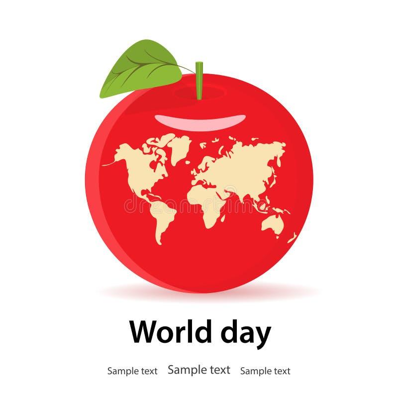 Dag för världshälsa, jord, begrepp I röda nya Apple med ett blad, royaltyfri illustrationer