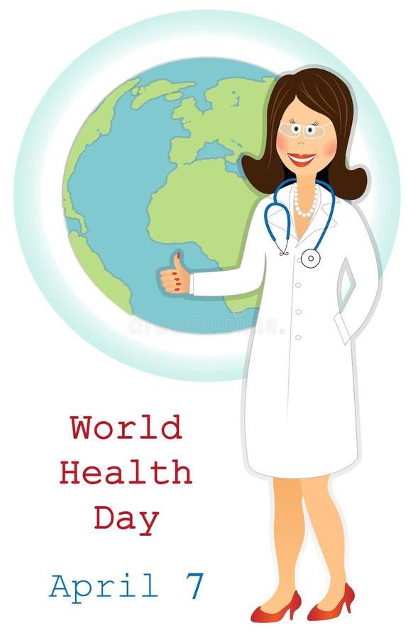 Dag för världshälsa Lycklig doktor med det ok tecknet och jordklotet royaltyfri illustrationer