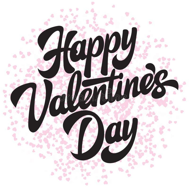 Dag för valentin s för Calligraphic stilfull vektorinskrift lycklig med hjärtor stock illustrationer