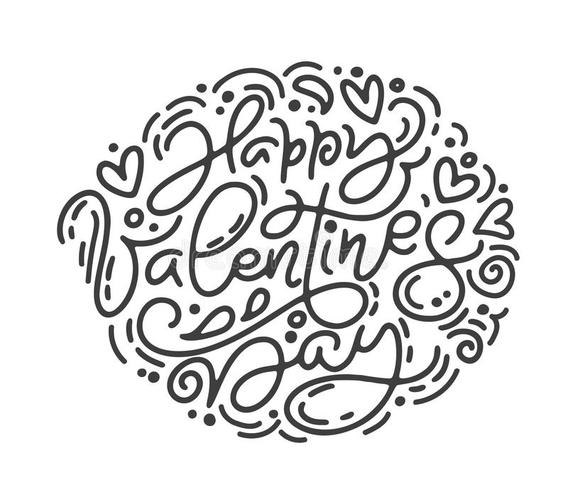 Dag för valentin för uttryck för vektormonolinekalligrafi lycklig Dragen bokstäver för valentindag hand Hjärtaferie skissar royaltyfri illustrationer