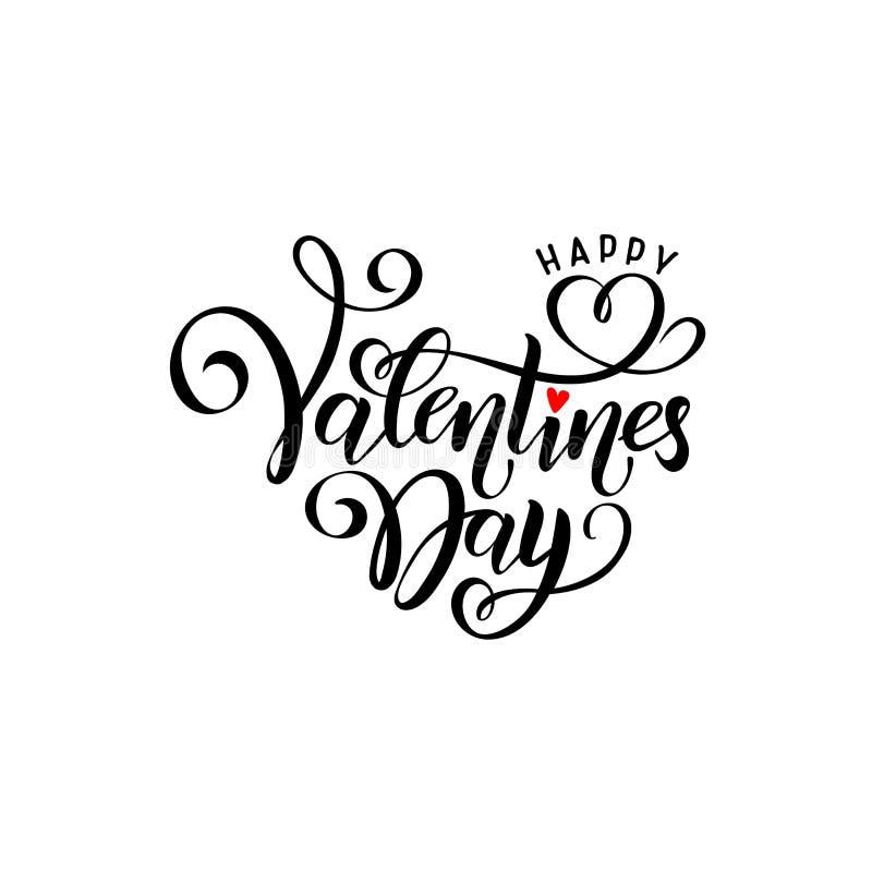 Dag för valentin för vektorsvart handskriven märka lycklig Kalligrafi isolerad utdragna textvalentin för hand dag, röd hjärta vektor illustrationer