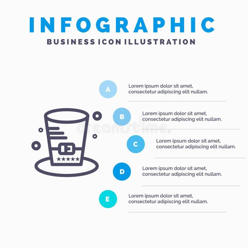 Dag, Hoed, Voorzitters, de Lijnpictogram van de V.S. met infographicsachtergrond van de 5 stappenpresentatie vector illustratie