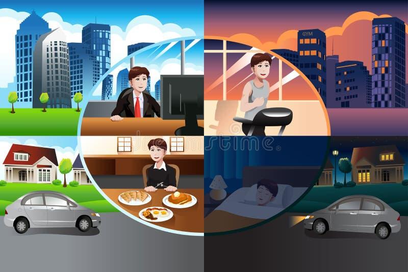 Dag i liv av en modern man stock illustrationer